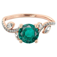 14 Karat Rose Gold Round Emerald Flower Style Engagement Ring