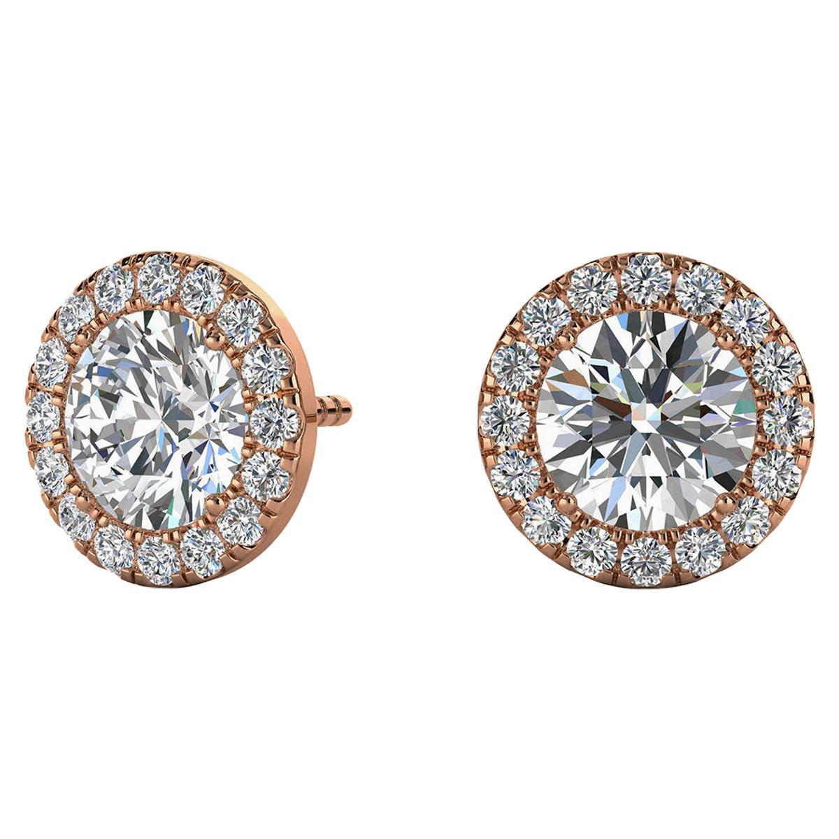 14 Karat Rose Gold Round Halo Diamond Earrings '1 2/5 Carat'