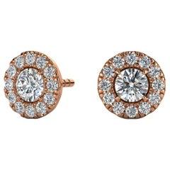 14 Karat Rose Gold Round Halo Diamond Earrings '1/2 Carat'