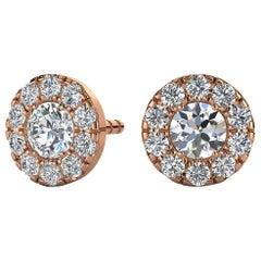 14 Karat Rose Gold Round Halo Diamond Earrings '1/3 Carat'