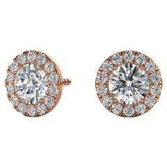 14 Karat Rose Gold Round Halo Diamond Earrings '1 Carat'