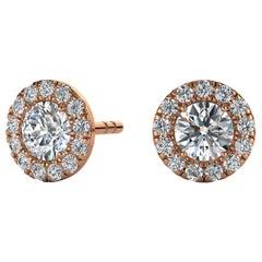 14 Karat Rose Gold Round Halo Diamond Earrings '3/4 Carat'