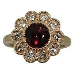 14 Karat Rose Gold Rubelite Garnet and Diamond Halo Beaded Ring
