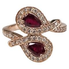 14 Karat Rose Gold Ruby and Diamond Ring 2 Pear Shape