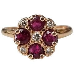 14 Karat Rose Gold Ruby and Diamond Ring Art Deco Style Ring