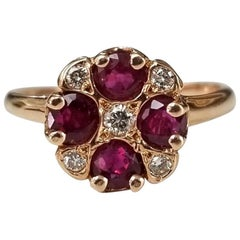 """14 Karat Rose Gold Ruby and Diamond Ring in an """"Art Deco"""" Style Ring"""