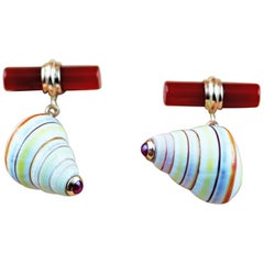 14 Karat Rose Gold Ruby Multi-Color Shell Carnelian Cufflinks
