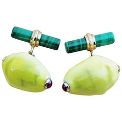14 Karat Rose Gold Ruby Yellow Shell Malachite Cufflinks