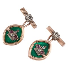 14 Karat Rose Gold Russian Crown Cufflinks