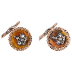 14 Karat Rose Gold Russian Cufflinks