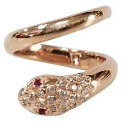 """14 Karat Rose Gold """"Snake"""" Diamond Ring"""