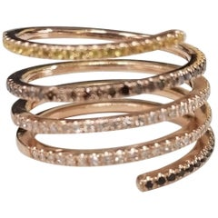 14 Karat Rose Gold Snake like Ring with Multicolored Diamonds