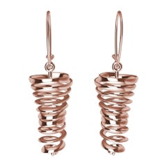 14 Karat Rose Gold Spiral Dangle Earrings
