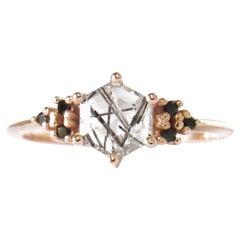 14 Karat Rose Gold Tourmalinated Quartz and Spinels Ring