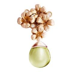 14 Karat Rose Gold Transformer Blossom Brooch with Diamonds