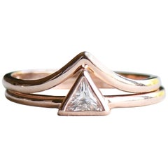 14 Karat Rose Gold Triangle Diamond Ring, Engagement Chevron Ring Set