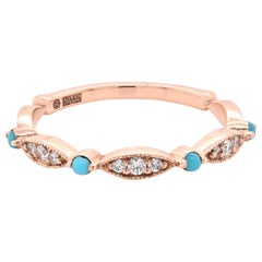 14 Karat Rose Gold Turquoise and Diamond Stackable Ring