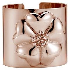 24 Karat Rose Gold Vermeil Blossom Large Cuff Bracelet