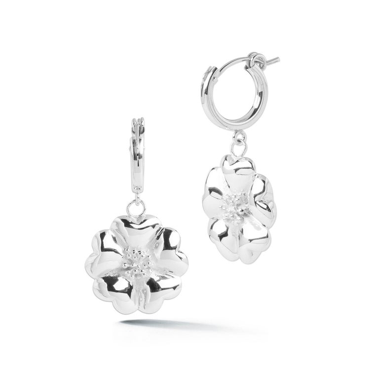 Modern 14 Karat Rose Gold Vermeil Blossom Small Hoop Dangle Earrings For Sale