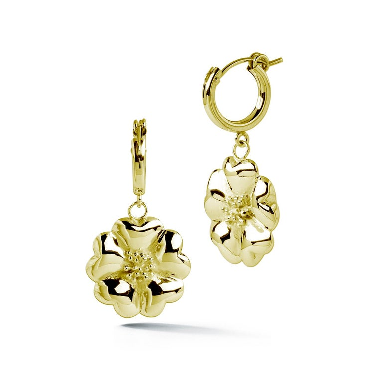 Trillion Cut 14 Karat Rose Gold Vermeil Blossom Small Hoop Dangle Earrings For Sale