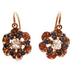 14 Karat Rose Gold Victorian Mine Cut Diamond and Sapphire Flower Drop Earrings
