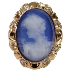 "14 Karat Rose Gold Vintage Agate ""Cateye"" Cameo with Diamonds"