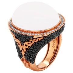 14 Karat Rose Gold White Black Diamond Oval White Agate Cocktail Ring