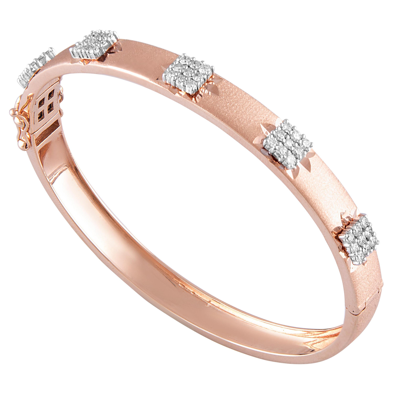 14 Karat Rose Gold White Diamond Bangle Bracelet