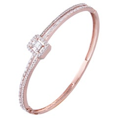 14 Karat Rose Gold White Diamond Bangle Bracelet