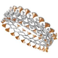 14 Karat Rose Gold White Diamond Bangle