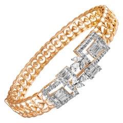 14 Karat Rose Gold White Diamond Bracelet