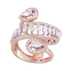 14 Karat Rose Gold White Diamond Cocktail Ring