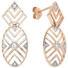 14 Karat Rose Gold White Diamond Geometria Oval Earrings