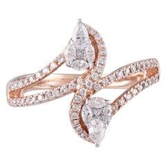 14 Karat Rose Gold White Diamond Ring