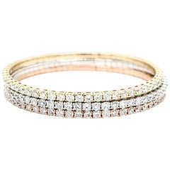 14 Karat Rose Gold, White Gold and Yellow Gold Diamond Bangles Bracelets