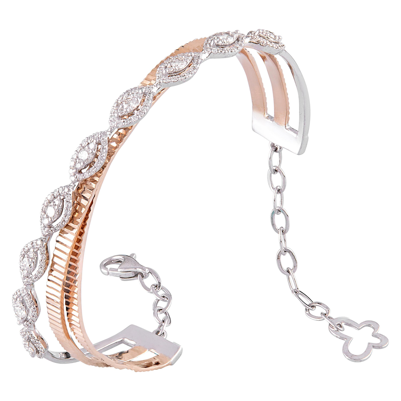 14 Karat Rose Gold White Gold White Diamond Bangle Bracelet