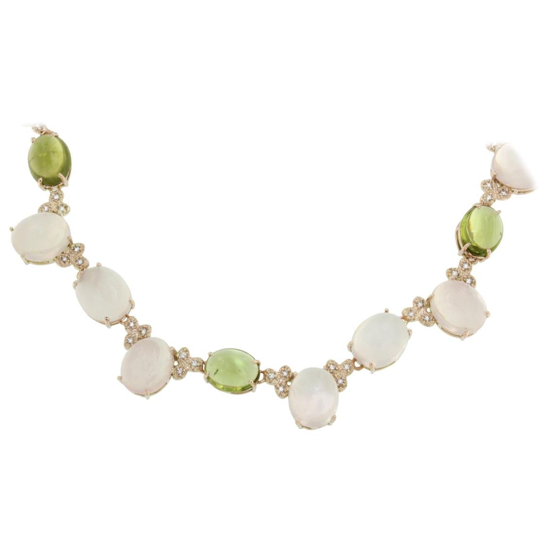 14 Karat Rose Gold with Pink Quartz Peridot and White Diamond Necklace