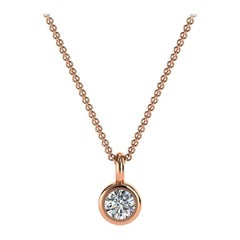 14 Karat Rose Petite Gold Bezel Solitaire Diamond Pendant 'Center, 1/10 Carat'