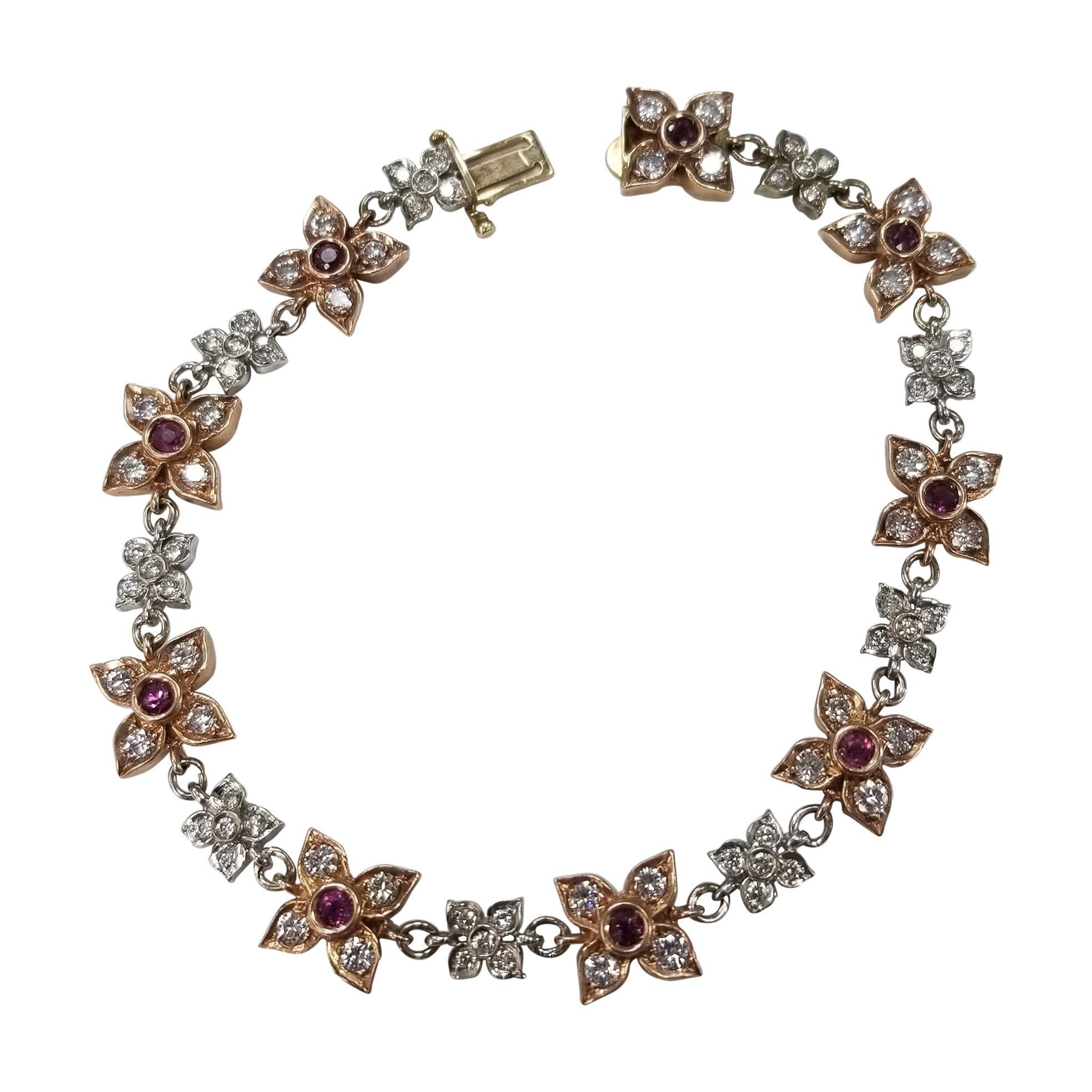 14 Karat Rose-White Gold Ruby and Diamond Floral Bracelet