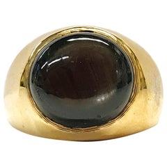 14 Karat Round Black Star Sapphire Ring