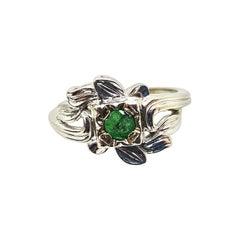 "14 Karat Round Emerald ""Floral"" Ring"