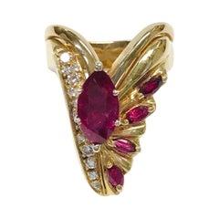 14 Karat Ruby Diamond Cocktail Ring