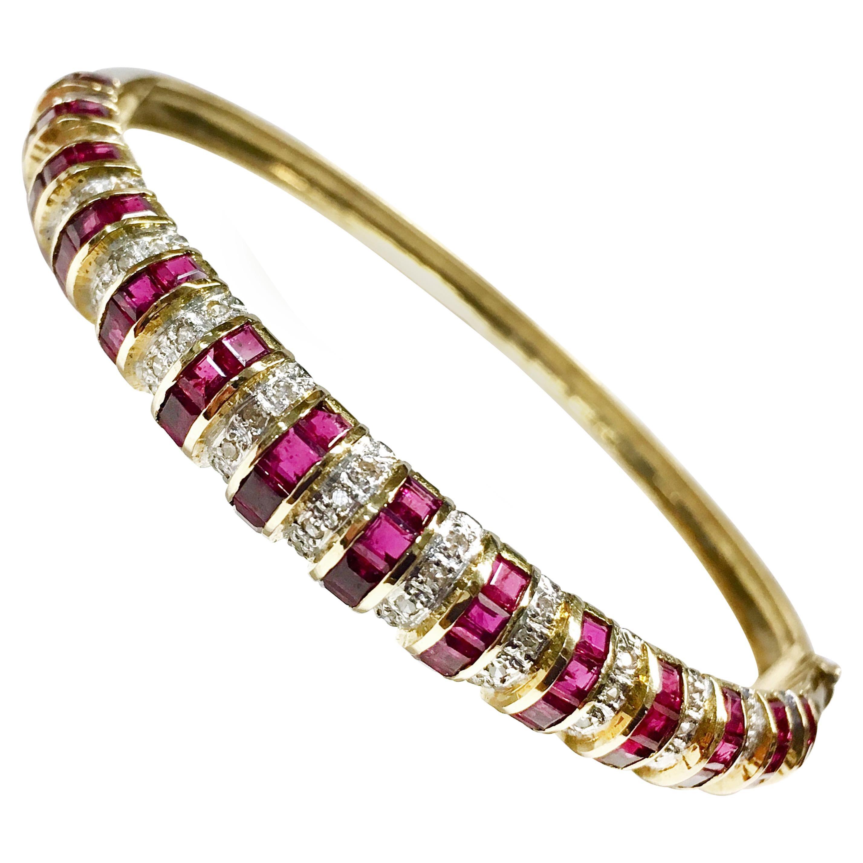 14 Karat Ruby Diamond Gold Bangle Bracelet
