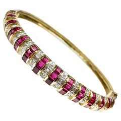 14 Karat Ruby Diamond Gold Bangle Bracelet