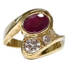 14 Karat Ruby Diamond Ring
