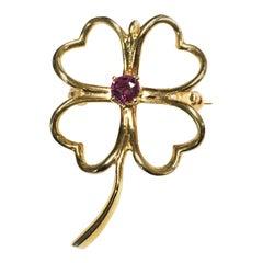 14 Karat Ruby Trevol Clover Pin/Brooch