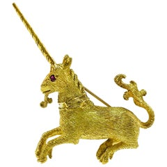 18 Karat Ruby Unicorn Brooch/Pin