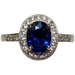 14 Karat Sapphire and Diamond Halo Ring