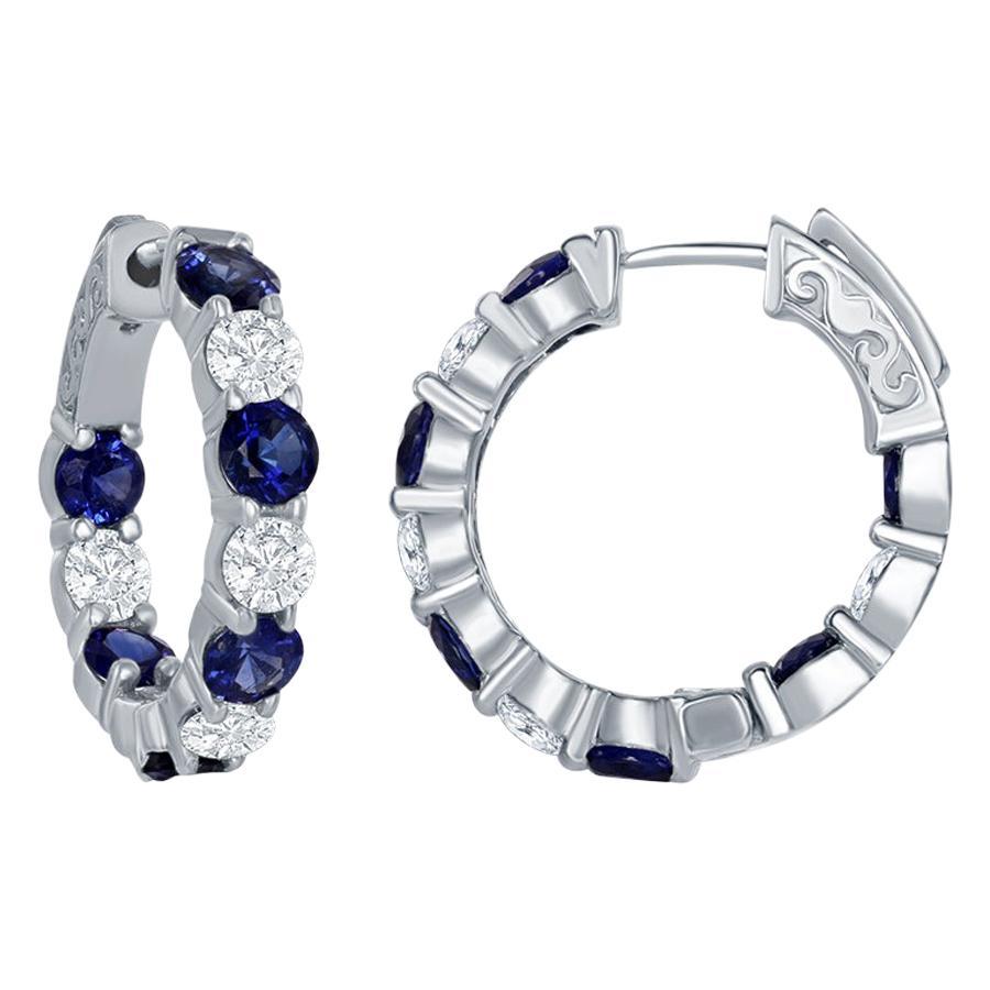 14 Karat Sapphire and Diamond Hoops Earrings