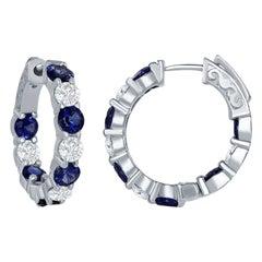 14 Karat Sapphire and Diamond Hoop Earrings
